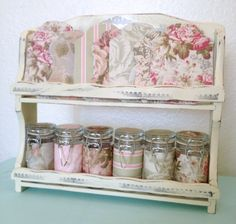 Shabby chic altered spice rack with jars and ribbon lace cards