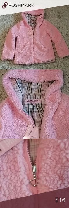 Furry jacket So soft! Pretty pink  hooded faux fur jacket with 2 side pockets and zippered front. Adorable. Brand new. Urban Republic Jackets & Coats