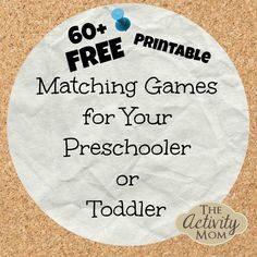 Matching activities are a great first activity to try with your toddler and preschoolers love to match, sort, and play Memory with these cards. Here's a collection of FREE, printable matching games for your preschooler or toddler. Printable Activities For Kids, Toddler Learning Activities, Toddler Preschool, Educational Activities, Fun Learning, Preschool Activities, Toddler Toys, Toddler Class, Children Activities