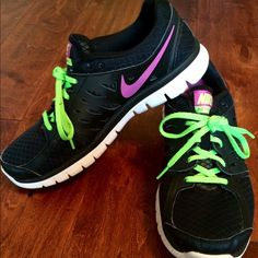Women's Nike flex run Black purple and lime green excellent condition Nike Shoes Athletic Shoes