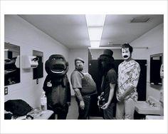 Nirvana - Halloween, 1993: Kurt is dressed as Barney the dinosaur and Pat Smear as Slash.