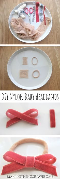 diy DIY Baby Nylon Headband with a Super Cute Bow! - Making Things is Awesome DIY hair bands! diy DIY Baby Nylon Headband with a Super Cute Bow! - Making Things is Awesome Baby Headband Tutorial, Bow Tutorial, Flower Tutorial, Headband Pattern, Baby Band, Baby Hair Bands, Make Baby Headbands, Flower Headbands, Diy Bebe