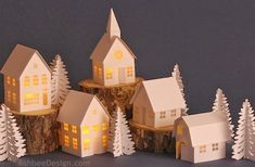 Ashbee Design Silhouette Projects: Tea Light Village Tutorial This specific tutorial is for the simple buildings including the cottage, town house and village store.