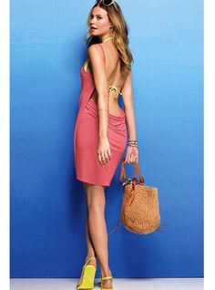 Coral Open Back Cover-up Dress