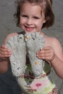 Easy Beach Crafts – Plaster of Paris Sand Prints Hands too cheap summer project and a keepsake too