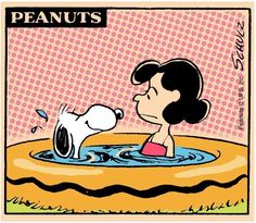 Swimming pool. Snoopy and Lucy