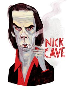 Nick Cave / Musician / Illustration by Francisco Javier Olea The Bad Seed, Nick Cave, Caricatures, Illustration, Musicians, Artist, Portraits, Posters, Fictional Characters