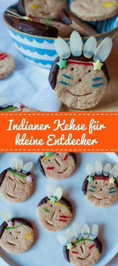Sucht ihr noch eine nette Idee für eure Indianer Mottoparty oder Faschingsfeier… Are you still looking for a nice idea for your Indian theme party or carnival party? These cute Indian cookies bring fun to every child's birthday! Indian Party Themes, Indian Theme, Cupcakes Amor, Indian Cookies, Biscuits, Sicilian Recipes, India Food, Homemade Baby Foods, Snacks Für Party