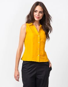 Buy Fabindia Yellow Silk Cotton All Over Pleats Shirt Online in India – Fabindia.com Crop Top Designs, Western Tops, Pleated Shirt, Classy Outfits, Indian Dresses, Designer Wear, Half Sleeves, Casual Wear, Dress Up