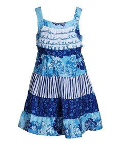 Blue Stripe Ruffle Dress