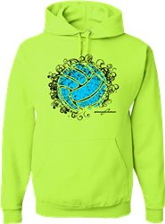 You're sure to stand out in this neon yellow volleyball hoodie, one of our most popular designs!