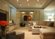 Corea Sotropa Interior Design - basements - play room, playroom, blue playroom, family room, blue family room, tray ceiling, recessed lighti...
