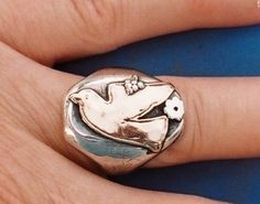 U-Boutique Shops | Dove Ring Judaica jewelry Jewish jewelry Israeli ring Made in Israel ring | Israel, Bible Jwlr