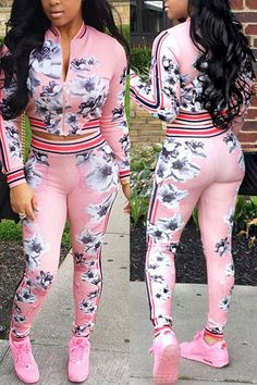 Sexy and stylish two piece pants set featuring a long sleeve zipper jacket and slim fit design. Material: Polyester Color: Blue or Pink Garment Care: Machine Wash