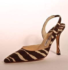 FC0252, sling back pump with stiletto heel, one of pair in zebra print textile, by Manolo Blahnik, made in Italy, early 2000s