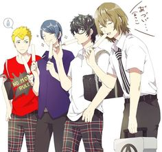 Persona 5, protagonist, Akira Kurusu, Akechi, Yusuke, Ryuji