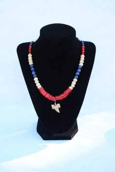 Nautical Shark Tooth Necklace. Red, White, Blue Necklace. Gemstone Necklace. Red Coral, White Bone and Blue Jade Shark Tooth Necklace. by flashinfashinjewelry. Explore more products on http://flashinfashinjewelry.etsy.com