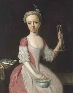 ENGLISH SCHOOL, 18TH CENTURY PORTRAIT OF A YOUNG GIRL.  Portrait of a young girl, three-quarter-length, in a pink dress and bonnet, spinning silk, with a porcelain bowl on her lap