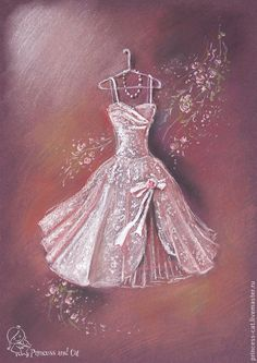 Купить Нарядные платья для настоящей принцессы - бордовый, пастельная картина, картина пастелью, платье