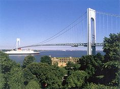 Verrazano-Narrows Bridge between Staten Island and Brooklyn, NY.  Upon completion in 1964, it was the longest suspension bridge in the world.  This was our pathway into Brooklyn and on to Long Island on Apr 30, 2016.
