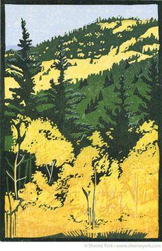 """Over the Pass"" Reduction linocut by Sherrie York. sherrieyork.com/ Tags: Linocut, Cut, Print, Linoleum, Lino, Carving, Block, Helen Elstone, Trees, Landscape"