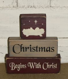 #woodworkingplans #woodworking #woodworkingprojects Christmas Begins With Christ Primitive Stacking Block Set