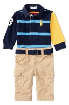 Ralph Lauren Rugby Shirt & Pants Set (Baby Boys) available at #Nordstrom
