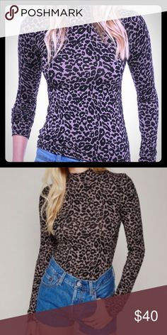 Free People Chocolate Mock Neck Top: Leopard Print Coming soon!! NWT Free People Chocolate Long-sleeved Top in Leopard Print. Mock turtleneck. Button detail along upper back. Brand new. No flaws. Adorable with jeans or dress it up with a black mini. First two pictures are stock photos to demonstrate fit. Slightly oversized according to product reviews. Free People Tops Blouses