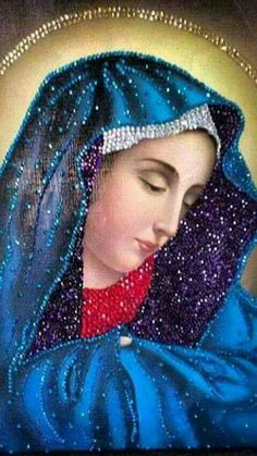 Blessed Mother Mary, Blessed Virgin Mary, Mother And Father, I Love You Mother, Religious Pictures, Religious Icons, Religious Art, Hail Holy Queen, Burlap Flower Wreaths