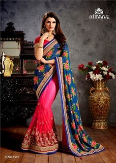 Fab Yug Designer Pink And Blue Georgette And Net Saree Sarees on Shimply.com