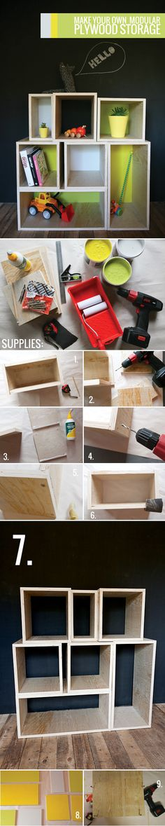 Make your own modular plywood storage | curate this space    saw something similar at a friend's house, been meaning to do it as well.