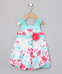 Take a look at this Aqua & Pink Flower Bubble Dress  by Rare Editions on #zulily today!