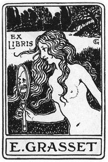 art nouveau ex libris Ex Libris, Illustrations, Book Illustration, Woodblock Print, Eugene Grasset, Arte Obscura, Occult Art, Vanitas, Art Graphique