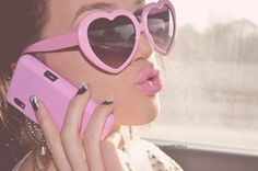 Pink heart shaped glasses with matching lipstick and phone case, I love it!