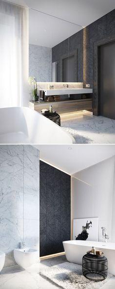Modern Design | Black modern side table #bathroominteriordesign #bestbathrooms #bathroomdesign side table design, beautiful bathrooms, modern bathroom . See more inspirations at www.coffeeandsidetables.com