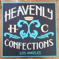 Hand painted Heavenly Confections sign by L Star Murals.  www.Lstarmurals.com
