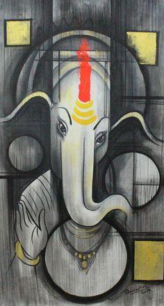 Ganesh ,Ganpati Art 02,ART_1522_20917,Artist : Ram Achal,Acrylic