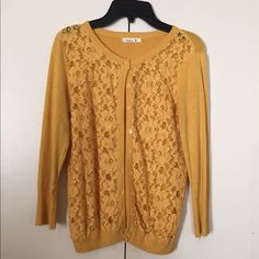 Yellow cardigan with lace Like new condition. Very soft material Teaspoon Sweaters Cardigans