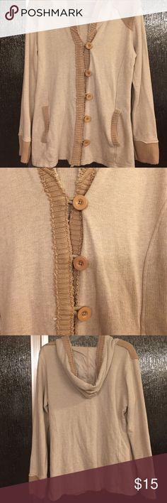 Natural Reflections button up sweater Natural Reflections button-up, hooded sweater. This is a great sweater! Barely worn just a few times. 100% cotton, has extra button sewn to inside tag. Sweater has raw edges to give it that worn, broke in look. Smoke free home, excellent feedback, trusted Posher since 2013. Natural Reflections Sweaters Cardigans