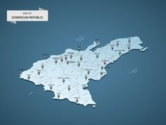 Isometric 3D Dominican Republic map, vector illustration with cities, borders, capital, administrative divisions and pointer marks; gradient blue background. Concept for infographic.