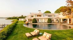 Kidney-shaped pools work on a smaller Hamptons property.  Spectacular sunset water views on Georgica Pond and private dock. Listed with Sotheby's International Real Estate for $45M.
