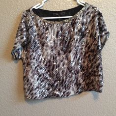 Bcbg silk crop top Size small has lining. Sequins and beading around collar and arm holes crop top made of silk size small BCBG Tops Crop Tops