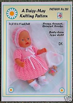 "1 of 1: 1 Dolls knitting pattern 16""-18""inch Babyborn type doll  No. 260 by Daisy-May"