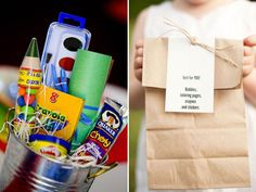 How to entertain kids at a wedding - goodie bag - I don't know how many little kids we'd have but tweens might still find the ceremony and reception boring so maybe a goodie-bag personalized to each kid with their preferences?