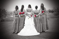 You might also consider black & white with a spot of color in your wedding album. Photographer: Opal Moments Photography of Rohnert Park, CA. http://opalmomentsphotography.com/
