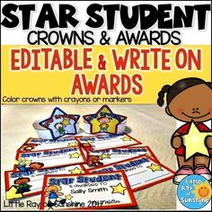 These Star Student Crowns & Awards are just what you need to recognize those special children in your class. The crowns are black and white so they can easily be colored with crayons, colored pencils or markers. The awards come in 6 designs, each design is available in a write on version as well as an EDITABLE version. There are 2 awards per page and are in full color.