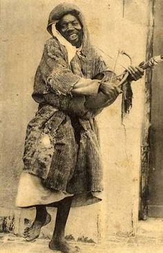 Mystical Moroccan Gnawa Troubadour in Ecstacy.