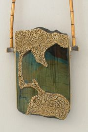 "Harold O'Connor ""Wabi Sabi"" Exhibition. Necklace, 24K Yellow Gold, 18K Yellow Gold Granulation, Sterling Silver, Spectrolite."