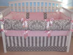 Design Your Own Crib Bedding  3PC Gray Pink by katyasdesigns, $259.00