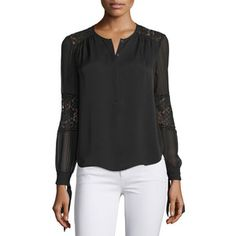 Rebecca Taylor Long-Sleeve Silk & Lace Blouse